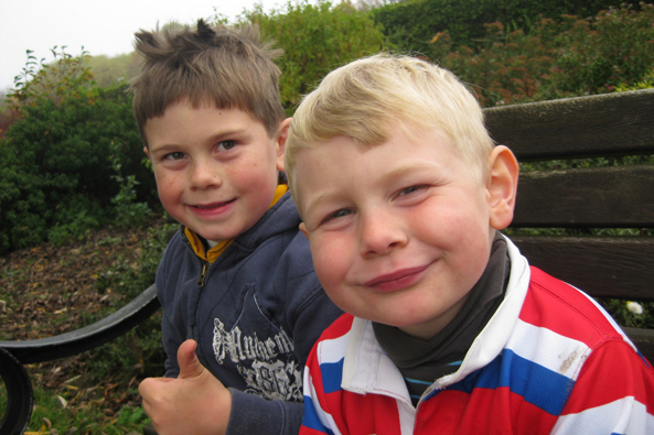 Christopher and Peter were delighted to have completed their cycle ride.