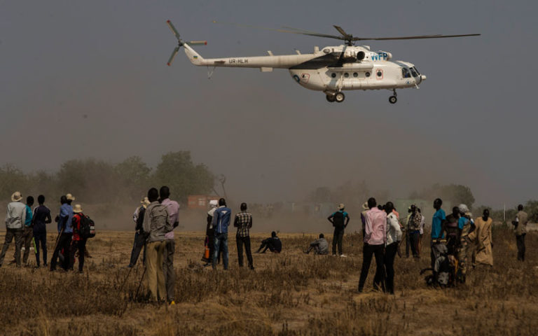 The Unicef/WFT emergency rapid response mission lands in Leer County, South Sudan in March 2017.