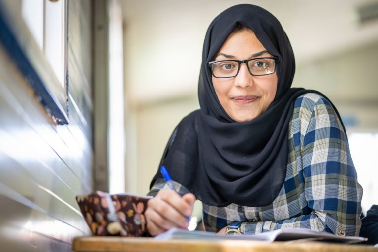 17-year-old Bodoor is in the 12th grade at a Unicef-supported school in Azrap Refugee camp and preparing for her final exams.